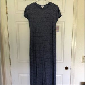 Dresses & Skirts - Lularoe Maria- Heathered blue with stripes NWT
